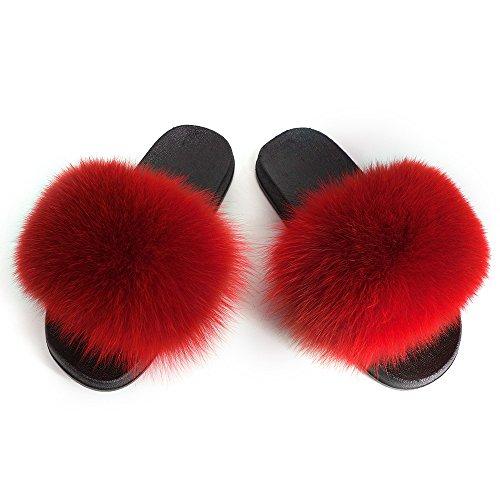 Manka Vesa Women Winter Real Fox Fur Feather Vegan Leather Open Toe Single Strap Slip On Sandals Red 10B(M) US