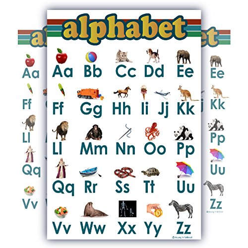 ABC Alphabet Chart for Teaching Small Clear White Laminated and Child Bedroom Poster Great Quality edu (12x20)