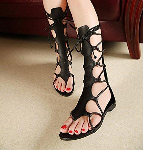 LvRao Mujer Elegante Planos Cremallera Peep-Toes Gladiator Sandalias Verano Zapatos Negro