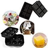 Jollylife Silicone Ice Trays, Round Ice Mold & Large Square Ice Cube Tray, Combo Silicone Molds - Ice Cube Mold & Ice Ball Mold