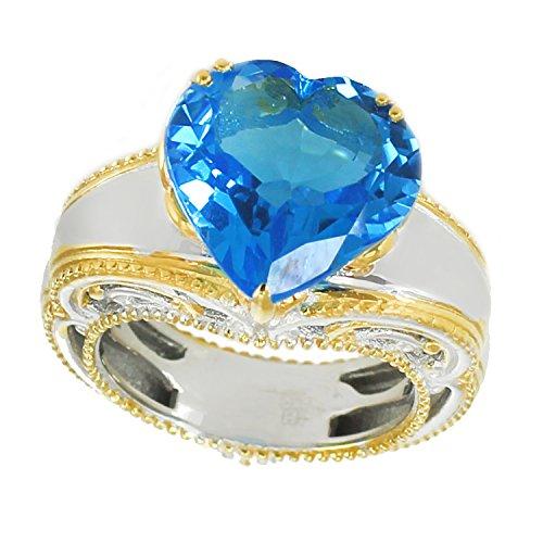 (Michael Valitutti Palladium Silver Heart Shaped Super Swiss Blue Topaz Ring )