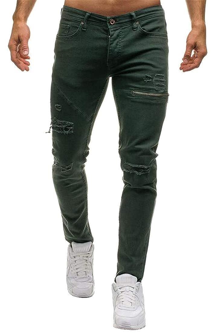 Fensajomon Mens Ripped Destroyed Zip Deco Straight Leg Moto Biker Denim Jeans Pants