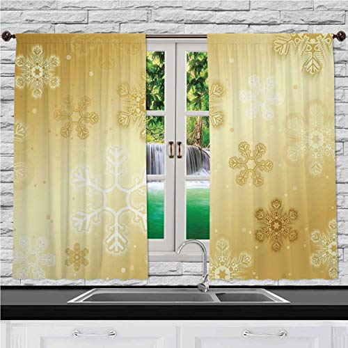 №13611 Kitchen Curtains, Christmas,Snowflakes Pattern On Gold Color Background Noel Holiday Yule Winter Themed Artsy Image,Gold, Window Drapes 2 Panel Set for Kitchen Cafe, 55 W X 39 L Inches (Background Christmas Artsy)