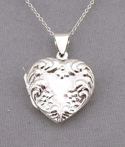 Heart locket Necklace For Women Floral Silver NEW
