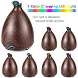 URPOWER Essential Oil Diffuser 150ml Wood Grain Ultrasonic Aromatherapy Oil Diffuser with Adjustable Mist Mode Waterless Auto Shut-Off humidifier and 7 Color LED Lights for Home Variant Image