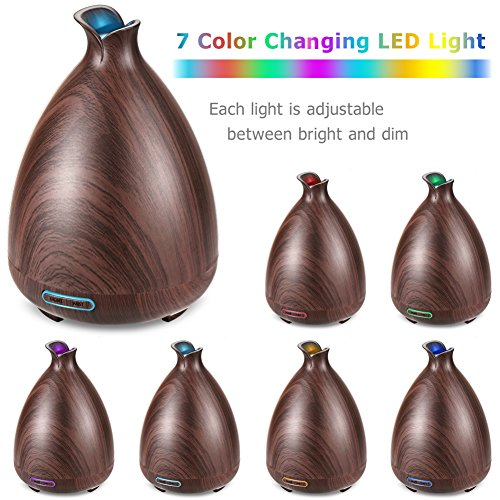 Large Product Image of URPOWER Essential Oil Diffuser 130ml Wood Grain Ultrasonic Aromatherapy Oil Diffuser with Adjustable Mist Mode Waterless Auto Shut-off humidifier and 7 Color Changing LED Lights for Home Office Baby