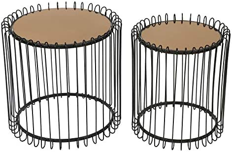 Adeco Decorative Nesting Round Side Accent Plant Stand Chair for Bedroom, Living Room and Patio, Set of 2 End Tables Black,Brown Glass