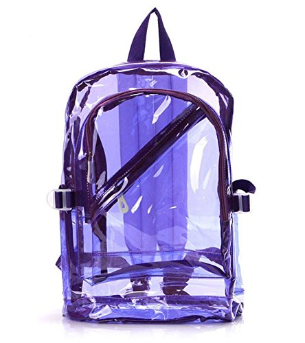 Mochila transparente clásica de color morado con bolsillos laterales.