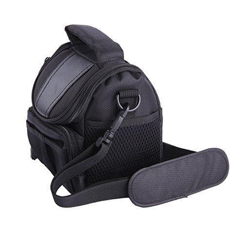 LXJ SMILEBlack Soft Nylon Digital Camera Case Bag Cover Pouch for Canon Powershot SX530 SX60 SX520 SX510 HS SX400 IS EOS Rebel Series DSLR ()