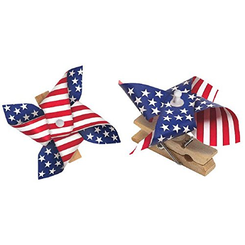(Amscan Patriotic Pinwheel in Wooden Clips 4th of July Party Outdoor Decoration, 8 Pieces, Made from Paper, Patriotic theme, 2 1/2 by)