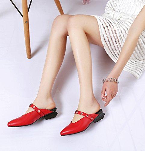 Chaussures Calaier Femme 5CM Caonline sabots Rouge et Bloc Sur 9 Mules Glisser 1vq1dAwr