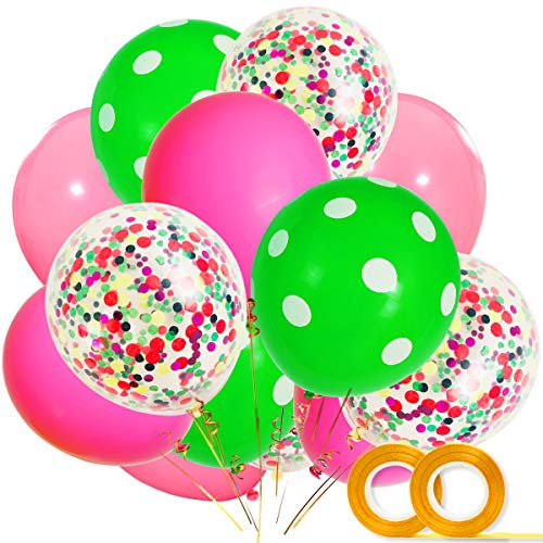 Watermelon Party Supplies Balloons 40 Pack, 12 Inch Light Pink Rose Red Green Polka Dot Latex Balloons with Confetti Balloon for Baby Shower Summer Fruit One in a Melon Birthday Party Decorations -