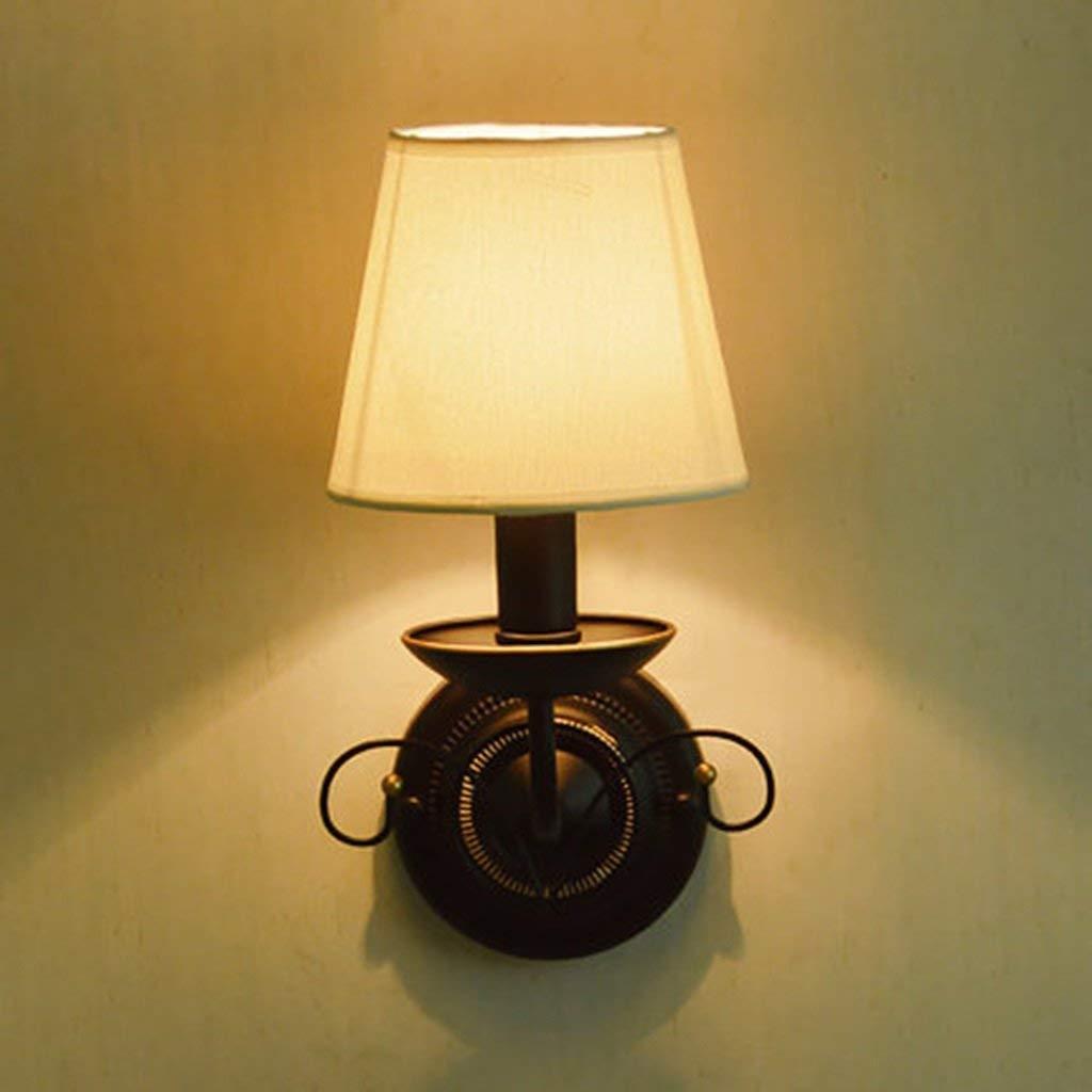Ferro da stiro Lampada da parete Creative panno bianco paralume candela tabella Camera da letto caldo Comodino studiare il balcone Lampada da parete fashion (colore   bianco)