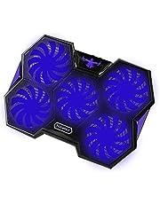 Nobelbird Base de Refrigeración para Ordenador Portátil, Base Portatil Gaming con 5 Ventiladores Ultra Silenciosos con Luces LED Azules,2 Puertos USB 2.0,Enfriamiento Rápido,Azules