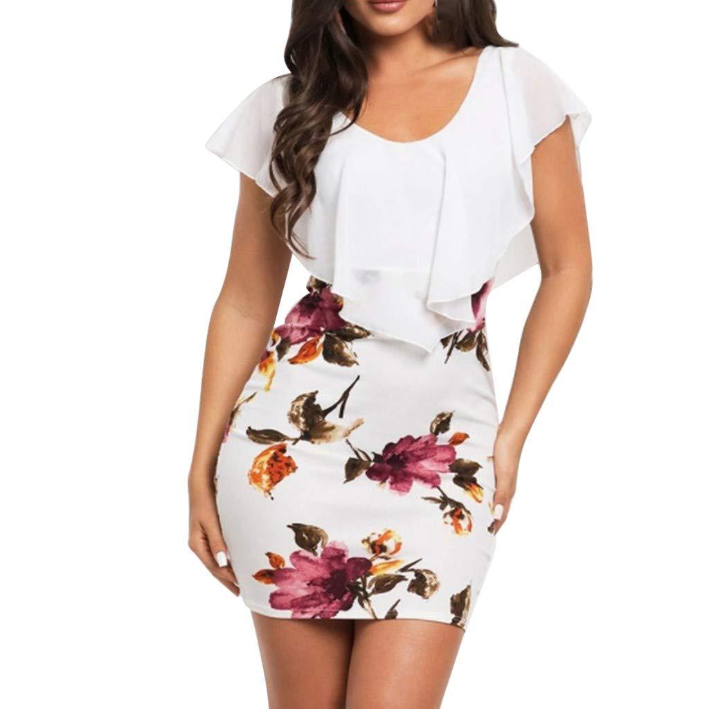 Floral Print Dresses, wodceeke Women's Sleeveless Bodycon Ruffles O-Neck Party Mini Dress(White,XL)