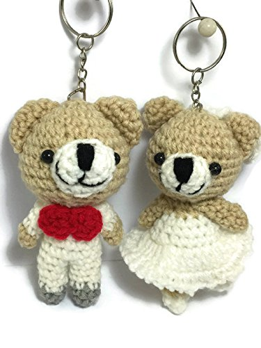 2 pc Cute Bear Yarn Doll handmade Keyring Voodoo Doll Wedding couple Keychain Craft valentine Gift