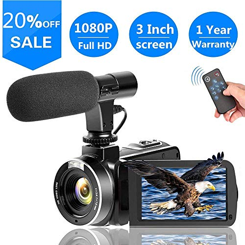 SUNLEA Video Camera Vlogging Camera with MicrophoneFull HD 1080p 30fps 24.0MP Video Camcorder for YouTube Support Remote -