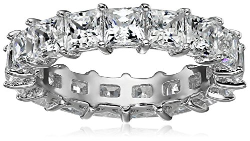 Platinum-Plated Sterling Silver Princess Cut All-Around Band Ring made with Swarovski Zirconia (7.5 cttw), Size 5