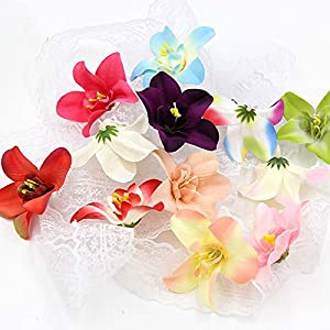 Artificial Flowers Fake Flower Heads in Bulk Wholesale for Crafts Silk Orchid Head Wedding Decoration DIY Party Festival Home Decor Wreath Gift Scrapbooking Craft Flowers 30pcs/lot 7cm 20