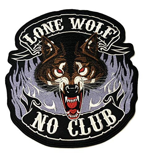 Lone Wolf NO Club Embroidered Large Jacket Back Patch Motorcycle Club Biker Series Vests Ghost Skull Hog Outlaw Rocker Jumbo Iron or Sew-on Emblem Badge Appliques Application Fabric Patches ()