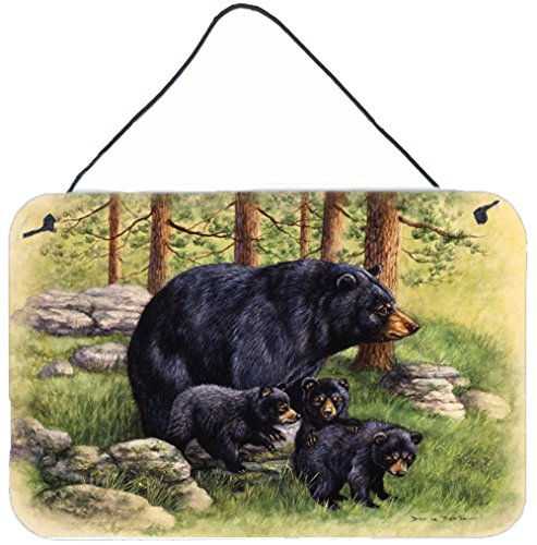 Caroline's Treasures Black Bears by Daphne Baxter Wall or Door Hanging Prints BDBA0114DS812, 8HX12W