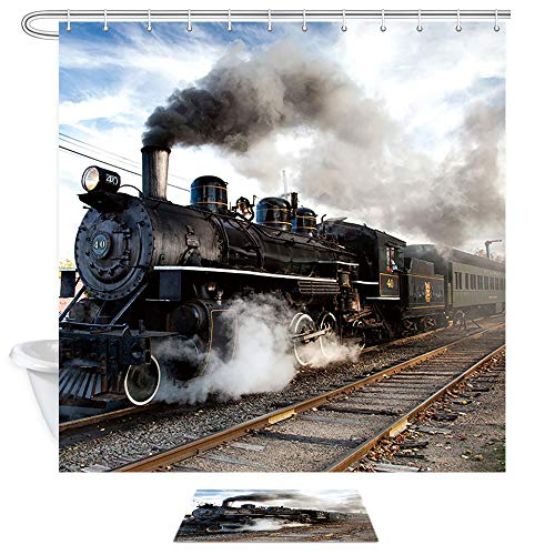 NYMB Steam Engine Bath Curtain, Train on Railroad Track Doormat, 69X70in Watercolor Polyester Fabric Train Shower Curtain for Bathroom Set with 15.7x23.6in Flannel Non-Slip Floor Entrance Mat