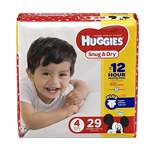 HUGGIES Snug & Dry Diapers Pañales, Size 4, 29 Count Fits 22-37 lb. Or 9-17 kg Traveler Overnight Stay Babysitter Pack Backup Spare Pack Or for at Home