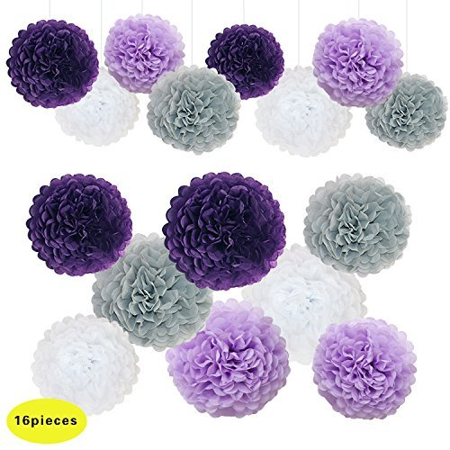 Purple White and Grey Wedding Decorations Tissue Paper Flowers Pom Poms Balls for Bridal Shower Bachelorette Baby Girl Boy Theme Birthday Party Supplies Set (Dark Purple, Grey, Purple, White) ()
