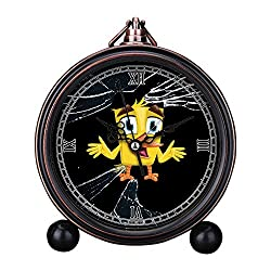 Vintage Retro Living Room Decorative Non-ticking, HD Glass Lens, Easy to Read, Quartz, Analog Large Numerals Bedside Table Desk Alarm Clock-077.Debris, Shine, Funny Chick, Chick