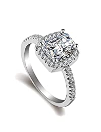 925 Sterling Silver Plating Ring for Women Eternity Cubic Zirconia CZ Diamond Engagement Rings