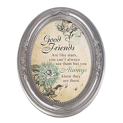 Cottage Garden Good Friends are Like Stars Metallic Floral 5 x 7 Oval Table Top and Wall Photo Frame