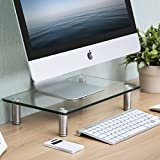 FITUEYES Glass Monitor Stand Desktop Screen Riser for Computer Height Adjustable DT103801GC