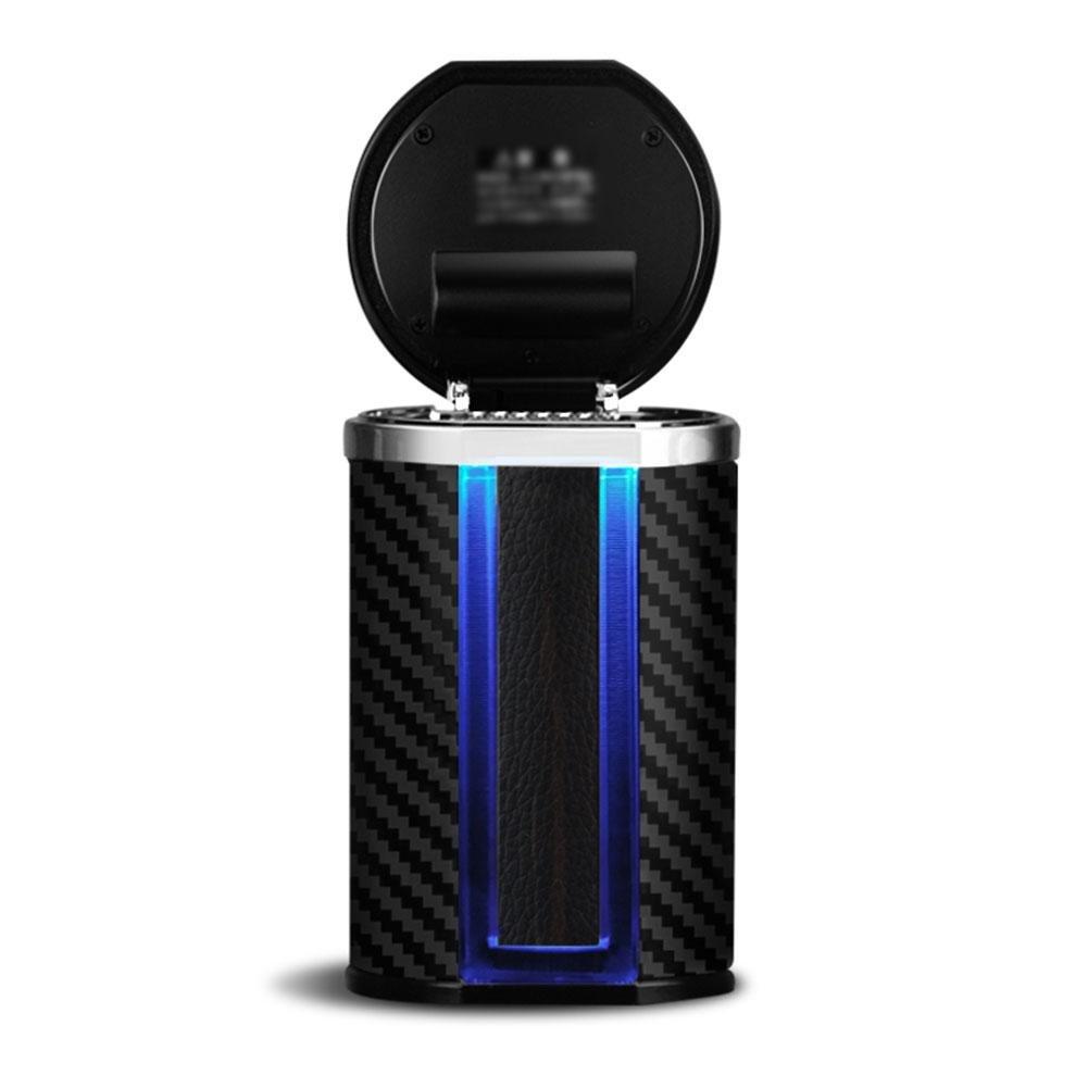 NACHEN Cendrier Voiture avec Support Induction d'é nergie Solaire Feux LED Carbone Charbon Vé hicule Cendrier, Color 1