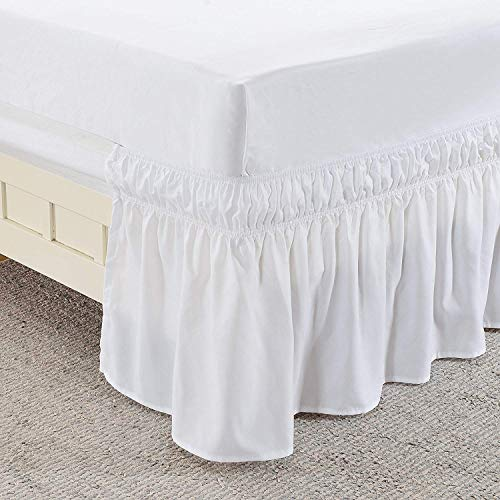 Ruffled Solid Bed Skirt,Wrap Around Style,Elastic Bed Wrap Ruffle Bed Skirt 18 inch Drop (Queen/King, White)