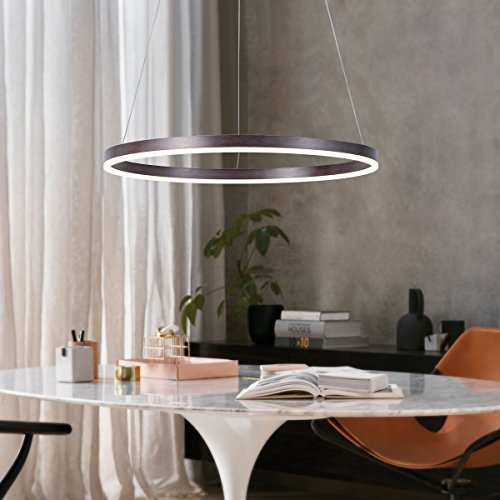 Round Modern Chandelier (Harchee Modern LED Ring Chandelier Acrylic Round Shape Ceiling Light Fixture, Adjustable LED Circle Pendant Light with 1 Ring for Living Room, Dining Room, Warm White 3000K, Brown Finish, 23.6 inches)