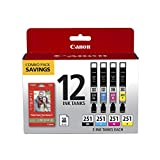 CanonInk CLI-251 BKCMY 12 COLOR COMBO Ink Cartridge, 50 Sheets