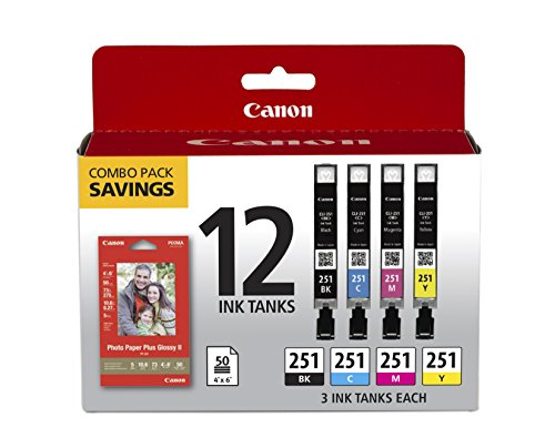 Canon CLI-251 BK/C/M/Y 12 Color Combo Pack Compatible to MG7520, MG5620, MG6620