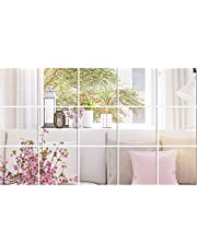BBTO 6 x 6 Inches Mirror Sheets Decals Self Adhesive Mirror Tiles Non-Glass Mirror Stickers, 15 Pieces
