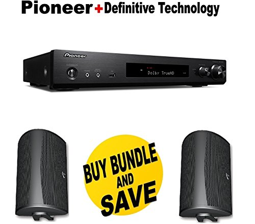Pioneer Slim Audio & Video Component Receiver,Black  + Pair