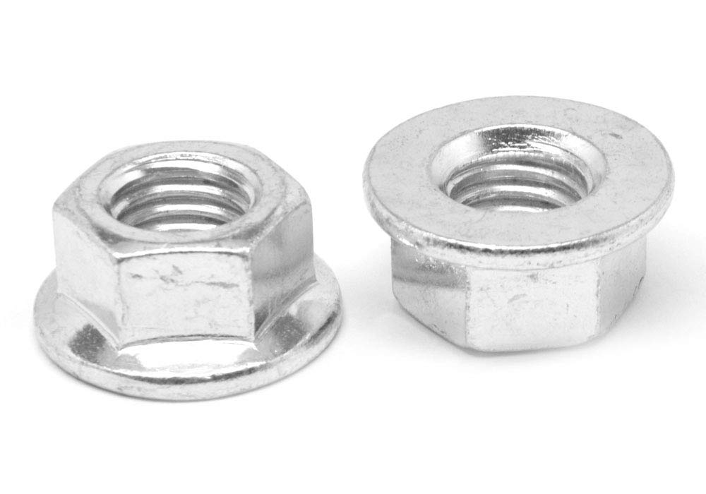 1//2-20 Fine Thread Hex Flange Nut with Serration Case Hardened Low Carbon Steel Zinc Plated Pk 50