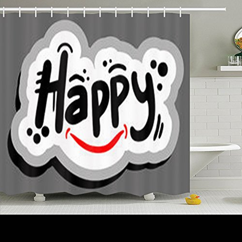 GisRuRu Decor Shower Curtains Happy Graffiti Message Holidays Signs Symbols Cheer Word Cloud Design Polyester Fabric Waterproof 72 x 72 Inches Bath Bathroom Curtain