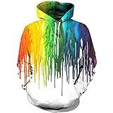 Linnhoy Unisex Digital Printed Hip Hop Short Sleeve Hooded T-Shirt Hoodie, XX-Large