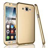 (US) Xelcoy 360 Degree Full Body Protection Front & Back Slim Hybrid Case Cover With Tempered Glass Screen Protector For Samsung Galaxy J5 PRIME - Gold Golden