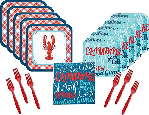 (Crawfish Boil Seafood Party Supply Bundle for 16 Guests - Includes Plates, Napkins and Forks)