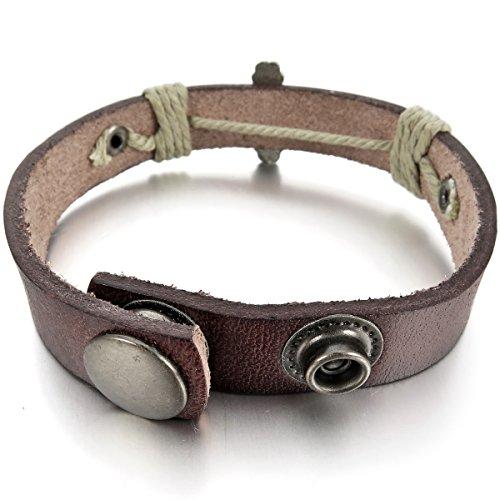MunkiMix Alliage Genuine Leather Véritable Bracelet Bracelet Menotte Brun Ton d'Argent Jésus Chrétien Crucifix Croix Réglable Homme