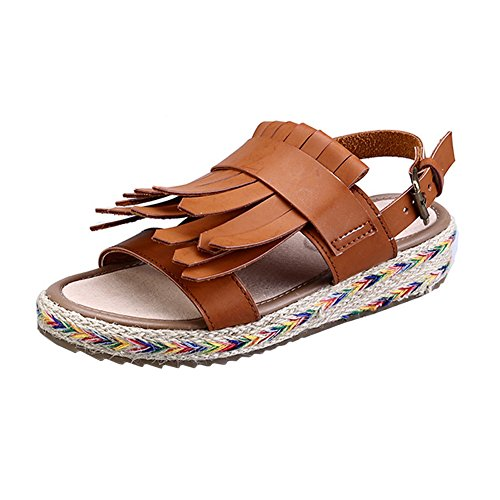 H&W Womens Micro Leather Flat Sandals 3.5CM Embellished Buckle Strap Non-slip Gum Rubber Soles Brown KATaFI