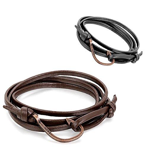 Aroncent Alloy Nautical Leather Bracelet