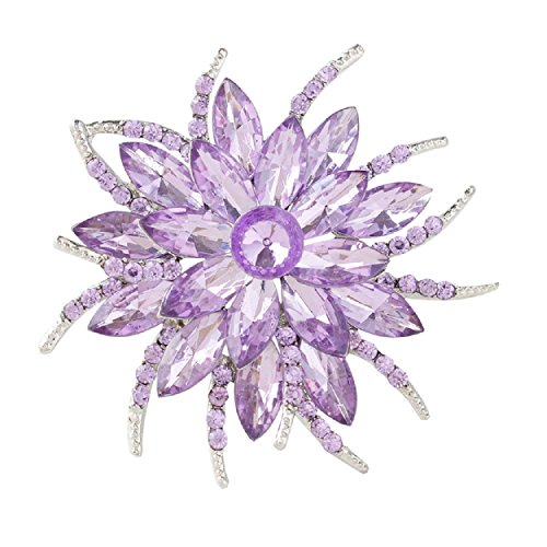 (Urberry Crystal Flower Brooch Pin for Women Girls Brides (Light purple))