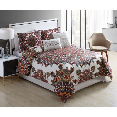 VCNY Home King Size Multicolor Tamara Medallion 5 Piece Bedding Duvet Cover Set with Decorative Pillows