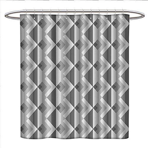 Davishouse Grey Shower Curtains Waterproof Triangles with Parallel Lines in Dark and Retro Minimalist Pattern Work of Art Print Fabric Bathroom Decor Set with Hooks W69 x L70 Ash Shadow